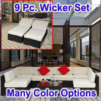 Brand New 9 Piece Outdoor Rattan Sofa Wicker Furniture Set