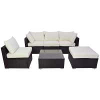 Brand New 6 Piece Brown Rattan Sofa Wicker Furniture Set