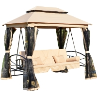 Outdoor 3 Person Patio Daybed Canopy Gazebo Swing - Tan w/ Mesh Walls