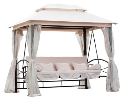 Outdoor 3 Person Patio Daybed Canopy Gazebo Swing   Cream W/ Mesh Walls