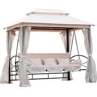 Outdoor 3 Person Patio Daybed Canopy Gazebo Swing - Cream w/ Mesh Walls