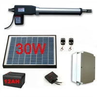 Solar Powered Single Swing Gate Kit Plus 30 Watt Panel