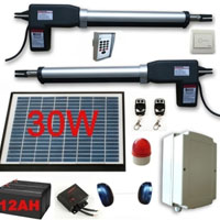 Solar Powered Gate Operator Full Kit for Dual Swing Gates