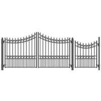 "Moscow Iron Dual Swing Driveway Gate w/ Pedestrian Gate 14' x 6'3"""
