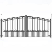 Brand New Paris Iron Dual Swing Driveway Gate 16' x 6'3""