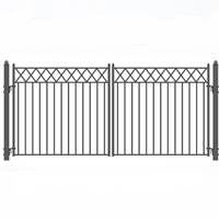Brand New Stockholm Style Swing Dual Steel Driveway Gates 14' X 6 1/4'