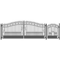 Venice Style Swing Dual Steel Driveway Gates 12 ft with 4' Pedestrian Gate