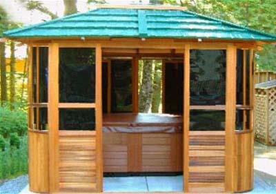 New york hot tub enclosure gazebo 10 39 x 12 39 for Hot tub gazebo plans
