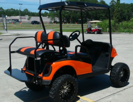 EZGO 48 Volt Rxv Orange & Black Golf Cart 2 Tone Seats 6