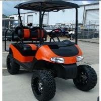 "EZGO 48 Volt Rxv Orange & Black Golf Cart 2 Tone Seats 6"" Lift"