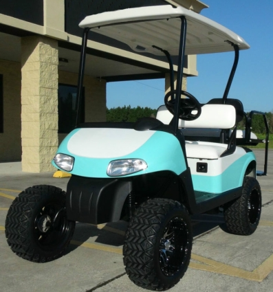 EZGO 48 Volt Rxv Turquoise/White Golf Cart 6