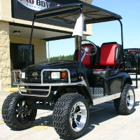 EZGO 36v Golf Cart TXT Black/Red w/2 Tone Seats
