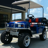 EZGO Blue/orange TXT 36v Golf Cart W/two Tone Seats