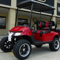 "EZGO 48 Volt Rxv Flame Red Golf Cart 2 Tone Seats 6"" Lift"