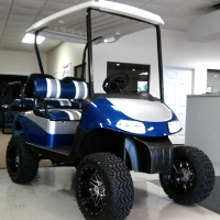 "EZ-GO Golf Cart 48 Volt Rxv Blue/silver 3 Tone Seats 6"" Lift"
