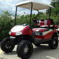 """EZGO 48 Volt Rxv Red/Silver Golf Cart 2 Tone Seats 6"""" Lift"""