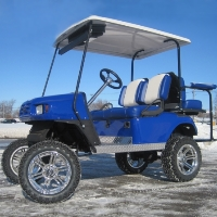 EZGO Blue/White TXT 36v Golf Cart W/two Tone Seats