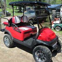 48V Red Club Car Precedent Lifted Golf Cart with Custom Seats