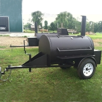 10' Custom BBQ Reverse Flow Barbecue Smoker With Trailer