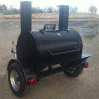 8' x 6' x 6' Custom BBQ Reverse Flow Barbecue Smoker With Trailer