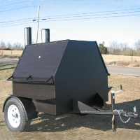 11' Custom BBQ Reverse Flow Barbecue Smoker With Trailer