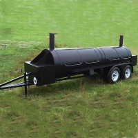 20' Custom BBQ Reverse Flow Barbecue Smoker With Trailer