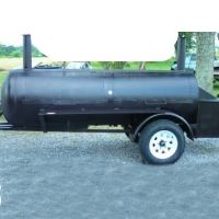 13' Custom BBQ Reverse Flow Barbecue Smoker With Trailer