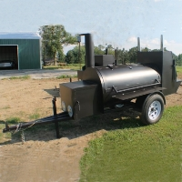 "12'6"" Custom BBQ Reverse Flow Barbecue Smoker With Trailer"