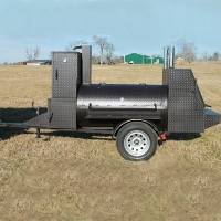 "12'6"" Custom BBQ Reverse Flow Barbecue Smoker With Trailer And Warming Box"