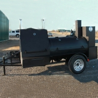 "12'6"" x 6' x 7' Custom BBQ Reverse Flow Barbecue Smoker With Trailer"