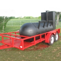 14' Custom BBQ Reverse Flow Barbecue Smoker With Trailer