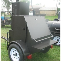 9' Custom BBQ Reverse Flow Barbecue Smoker With Trailer And Warming Box