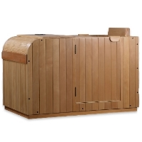 1 Person Sauna Dynamic Far Infrared, Granada Edition Natural Hemlock Wood w/ Canadian Red Cedar Accents