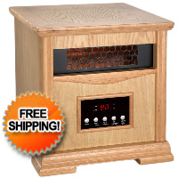 Light Oak Dynamic Infrared Space Heater w/ Remote Control