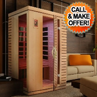 2 Person Blue Crane Low EMF Infrared Sauna with Carbon Heaters