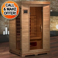 2 Person Hemlock Infrared Sauna with 5 Bio Ceramic heaters
