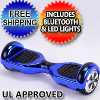 "Chrome 6.5"" Self Balance Hoverboard Scooter w/Bluetooth & LED Lights - Free Shipping & UL Approved"
