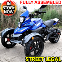 200cc Tryker Trike Scooter Gas Moped Fully Automatic with Reverse - JassCol 200 Trike - Blue