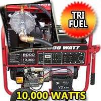 10,000 Watt Tri Fuel Generator with Electric Start