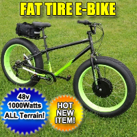 1000 Watt Fat Tire Bike Bicycle Electric With 7 Speeds 48 Volt