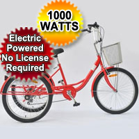 """1000 Watt Electric Powered Tricycle Motorized Trike 26"""" Adult Size 3 Wheel Trike Scooter Bicycle"""