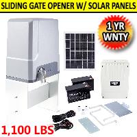 Smart Hands-Free Sliding Gate Opener with Solar Panel Kit 150W Motor 1100lb Capacity