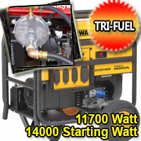11700 Running Watt - 14000 Starting Watt Tri Fuel Generator - Electric Start w/ Charger