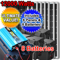 12000 Watt Solar Powered Mega Generator with 60 Amp Charge Controller - 8 Panels & 8 Batteries