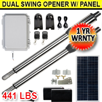 Solar Auto Dual Swing Gate Opener Kit 24V Motor with Controller & Solar Panel