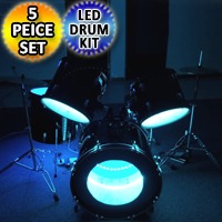 5 Piece LED Drum Set Full Size Kit W/ Stool Cymbals Throne & Sticks
