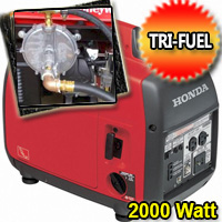 2000 Watt Tri Fuel Generator Super Quiet Multi Fuel Powered Portable Inverter Generator with Eco-Throttle and Oil Alert