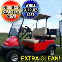 48V Cherry Red Electric Club Car Precedent Electric Golf Cart w/ Rear Flip Seat