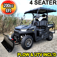 Crossfire Gas Golf Cart EFI UTV 200cc 4 Seater Utility Vehicle With Plow- CROSSFIRE 200 EFI - Black With Plow