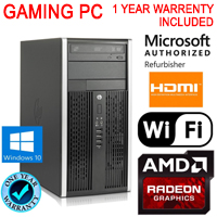 HP Gaming Tower Computer PC 3.3GHz 16GB 120GB SSD Radeon HD 6450 Win10 WiFi HDMI